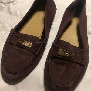 Used Suede Coach Loafers - Plum Size 8